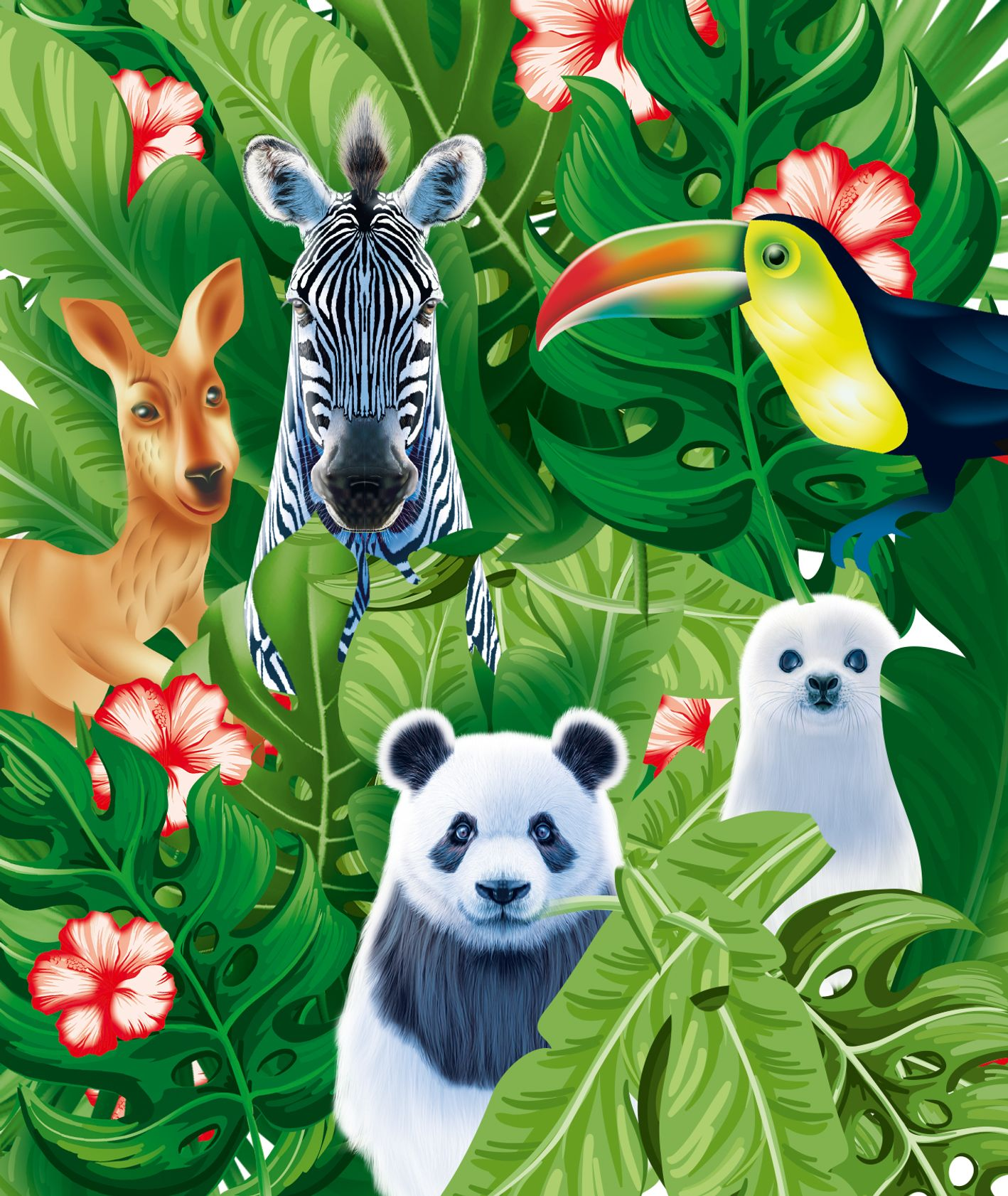 Ilustrowane zwierzęta w tropikalnych liściach