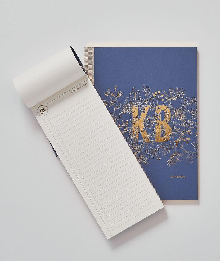 Zestaw notesów KUKBUK-a kolor granatowy złocone brzegi idealne do planowania środek otwarty to do list