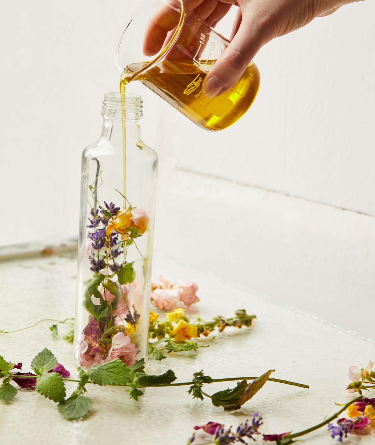 Maceracja kwiatów i ziół sezonu letniego – róża, lawenda, dziewanna i mięta zalewane oliwą.