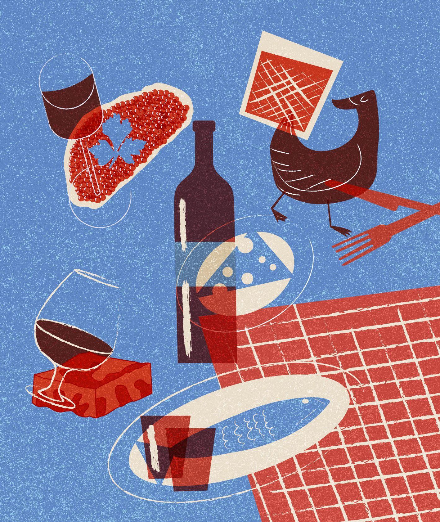 Ilustracja w niebiesko czerwonych kolorach, przedstawiająca tradycyjne połączenie alkoholu i jedzenia w różnych krajach – kaczka i whisky, wino i ser, brandy i brownie, śledź i wódka, szampan i kawior (il. Marcin Lewandowski)
