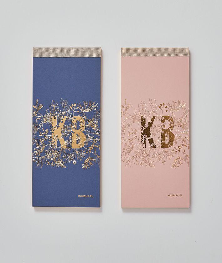 Nowy podłużny notes organizer KUKBUK-a doskonały do planowania, dwa kolory pudrowy róż i granatowy