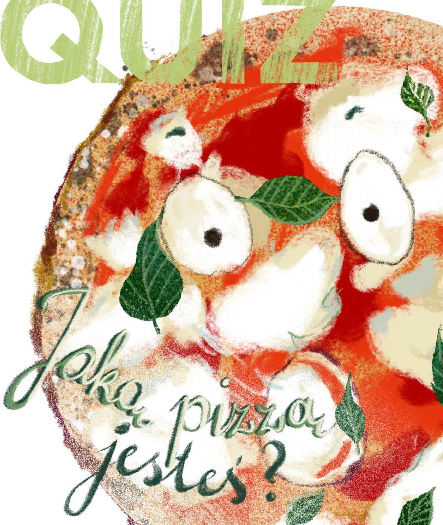 quiz - kukbuk - jaką pizzą jesteś (grafika Martyna Cybuch)