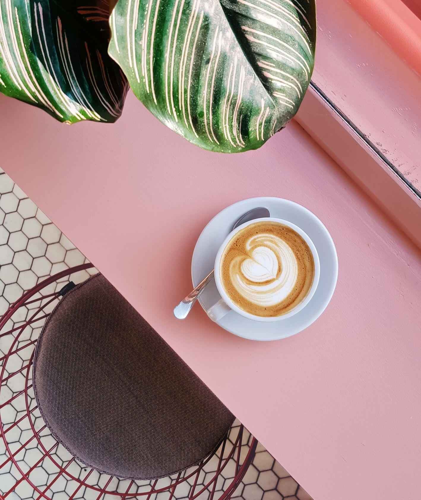 Filiżanka kawy na różowym blacie, liść rośliny (fot. Natanja Grun / unsplash.com)