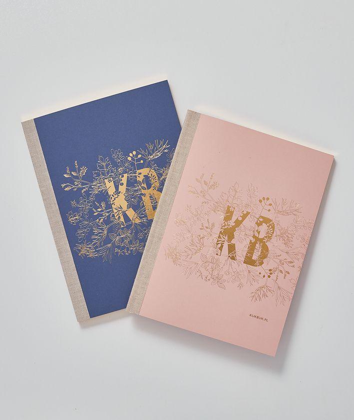 Notes KUKBUK-a okładka pudrowy róż granat złocone brzegi
