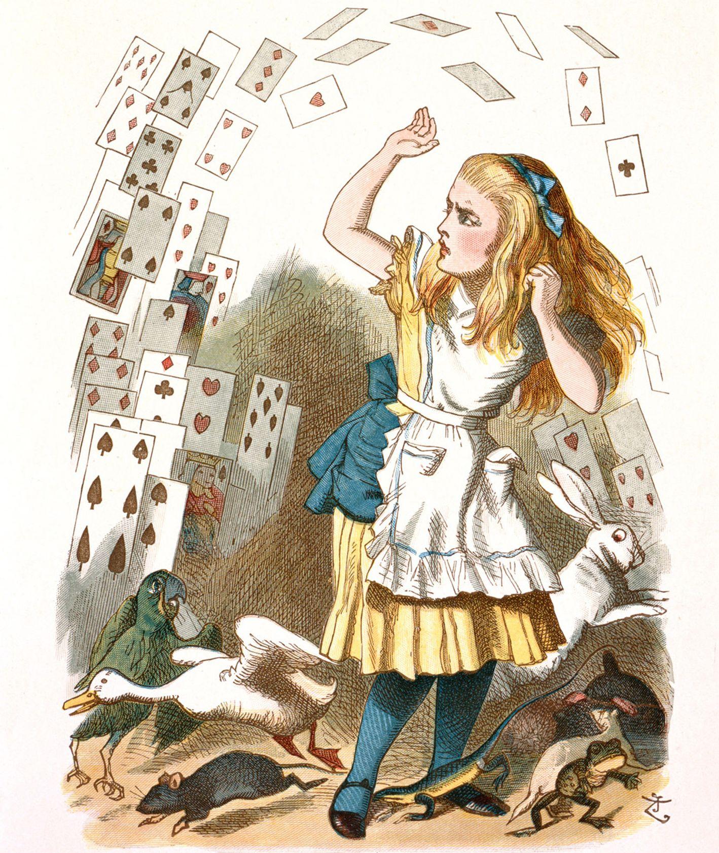 """Ilustracja John Tanniela do skróconej wersji """"Alicji w krainie czarów"""" - karty do gry latają dookoła Alicji"""