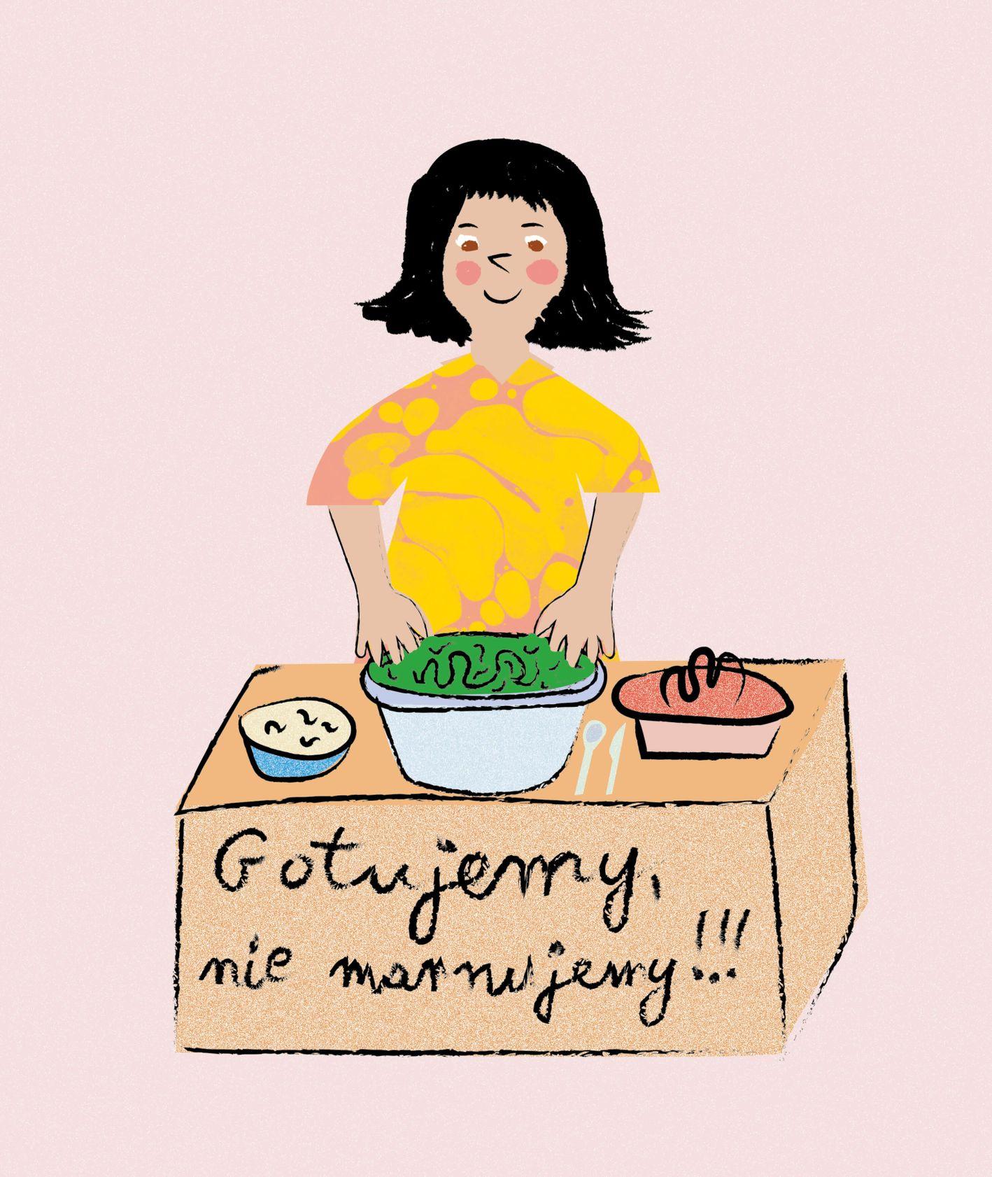 Rysunek gotującej dziewczynki (il. Hekla Studio)