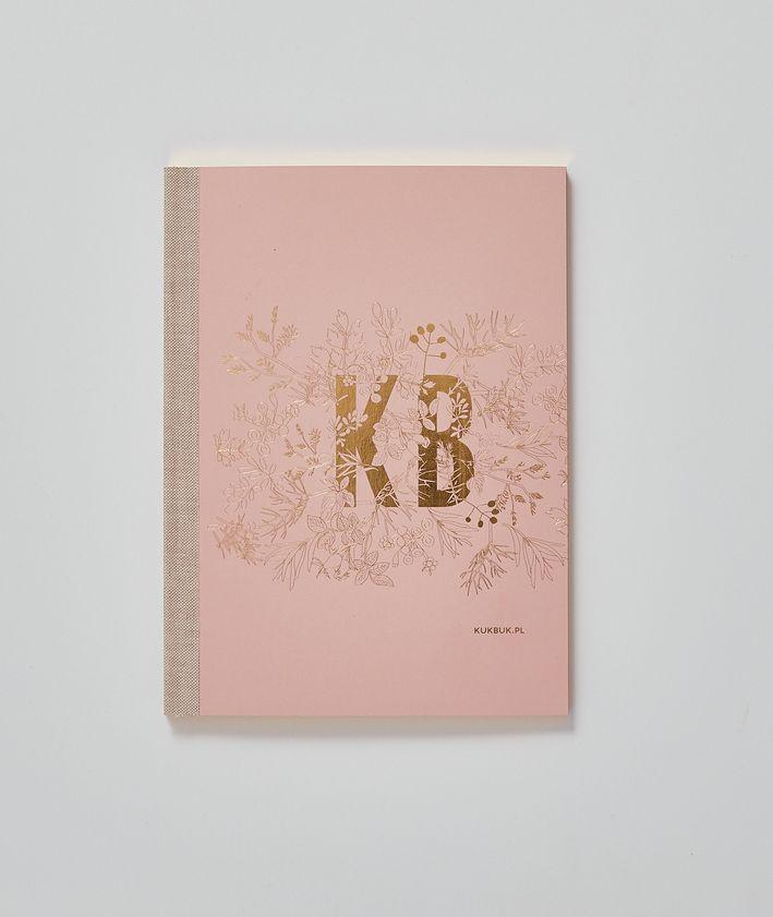 Kukbuk notes ze złoconymi brzegami różowy okładka