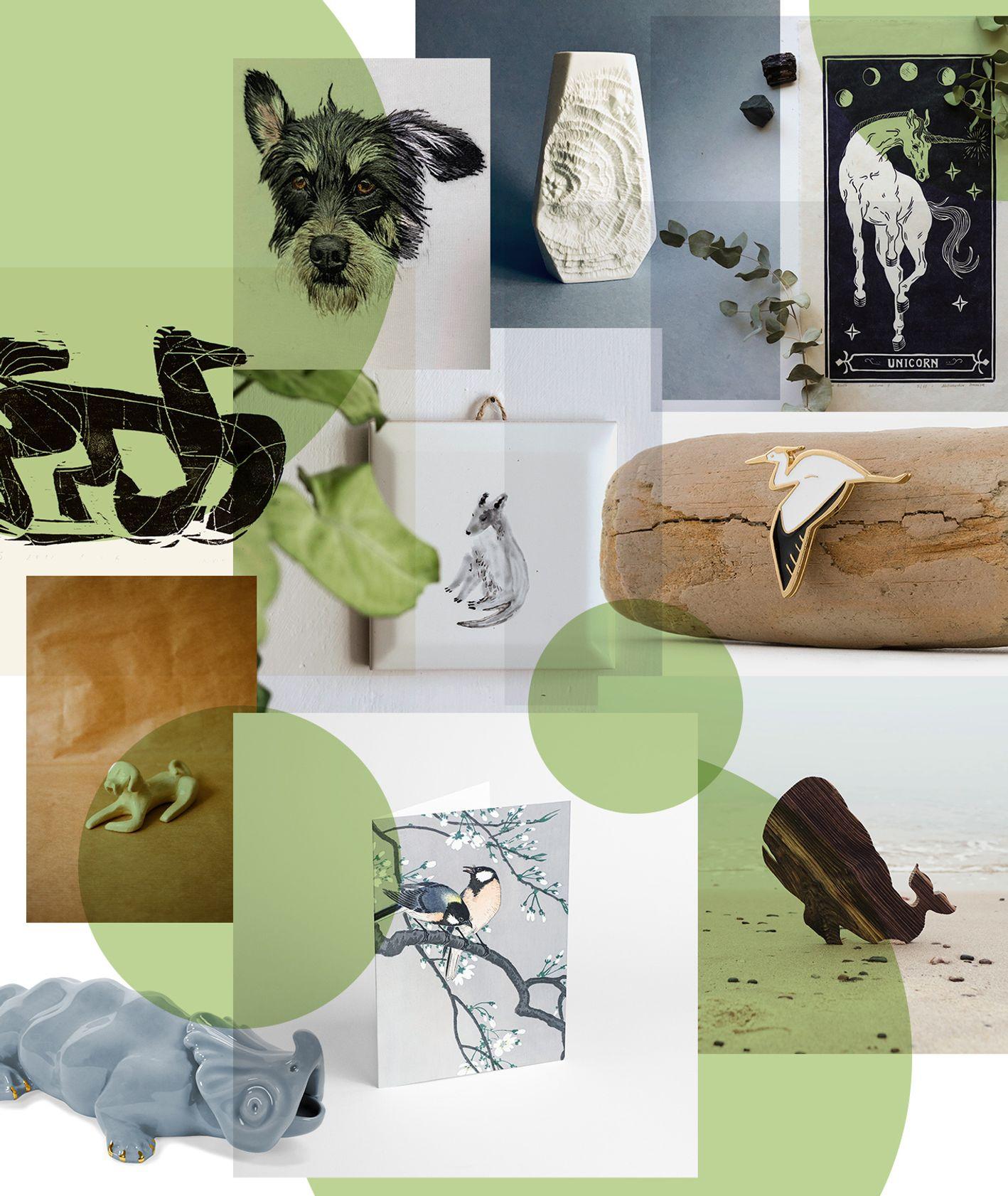 Prezenty z motywami zwierząt – grafiki, ceramika, wazony i koszulki z wizerunkami zwierząt
