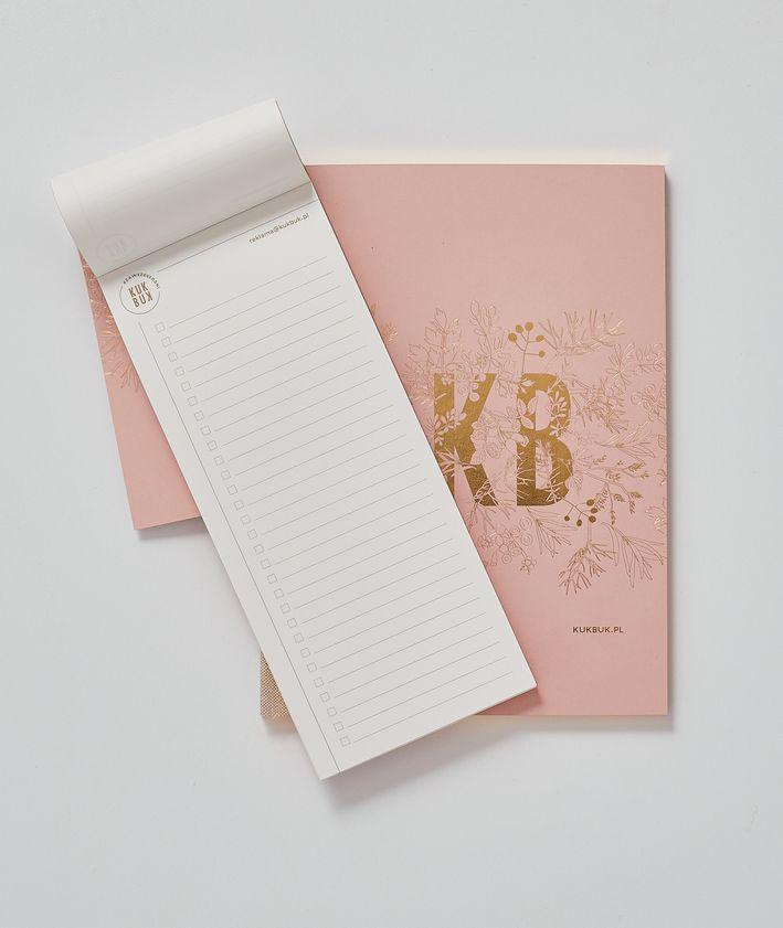 Pakiet notatników KUKBUK-a notes + organizer idealne do planowania kolor pudrowy róż to to list