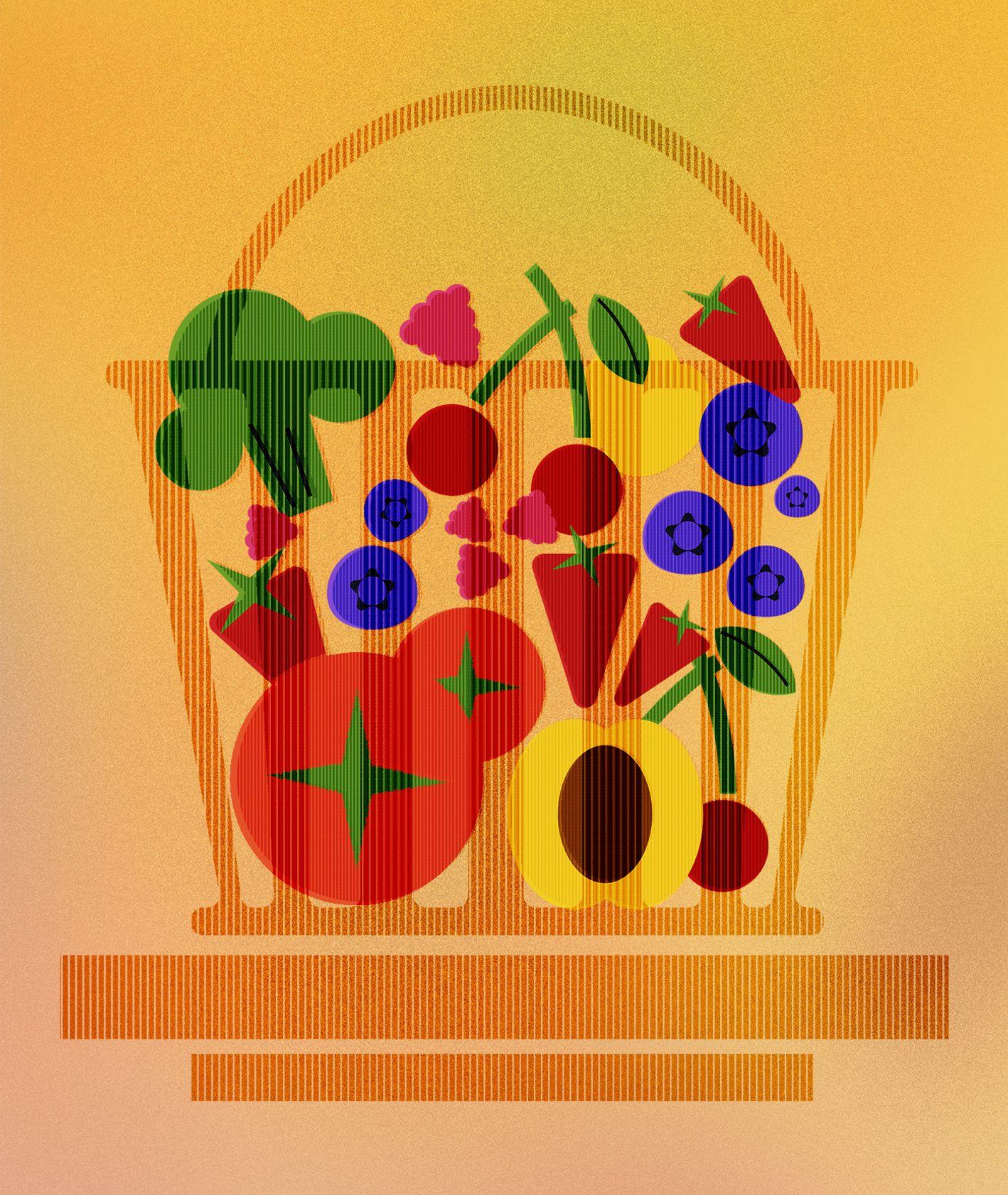 Kosz sezonowych warzyw i owoców (il. Pola)