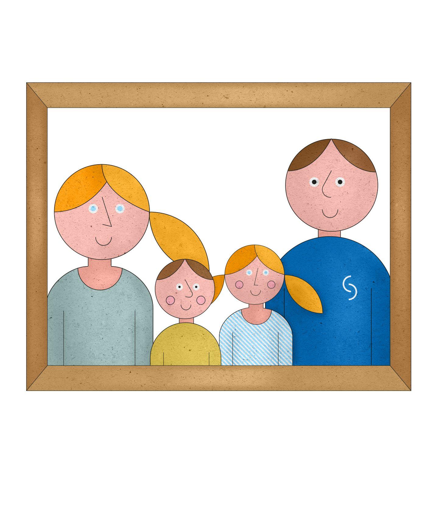 Ilustracja przedstawia rodzinne zdjęcie w ramce, na zdjęciu mama, tata oraz dwójka dzieci. (il. Marcin Lewandowski)