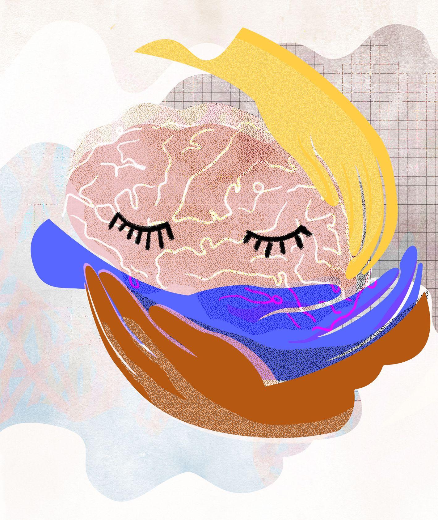 Ilustracja przedstawiająca zaopiekowany mózg (il. Basia Synak)