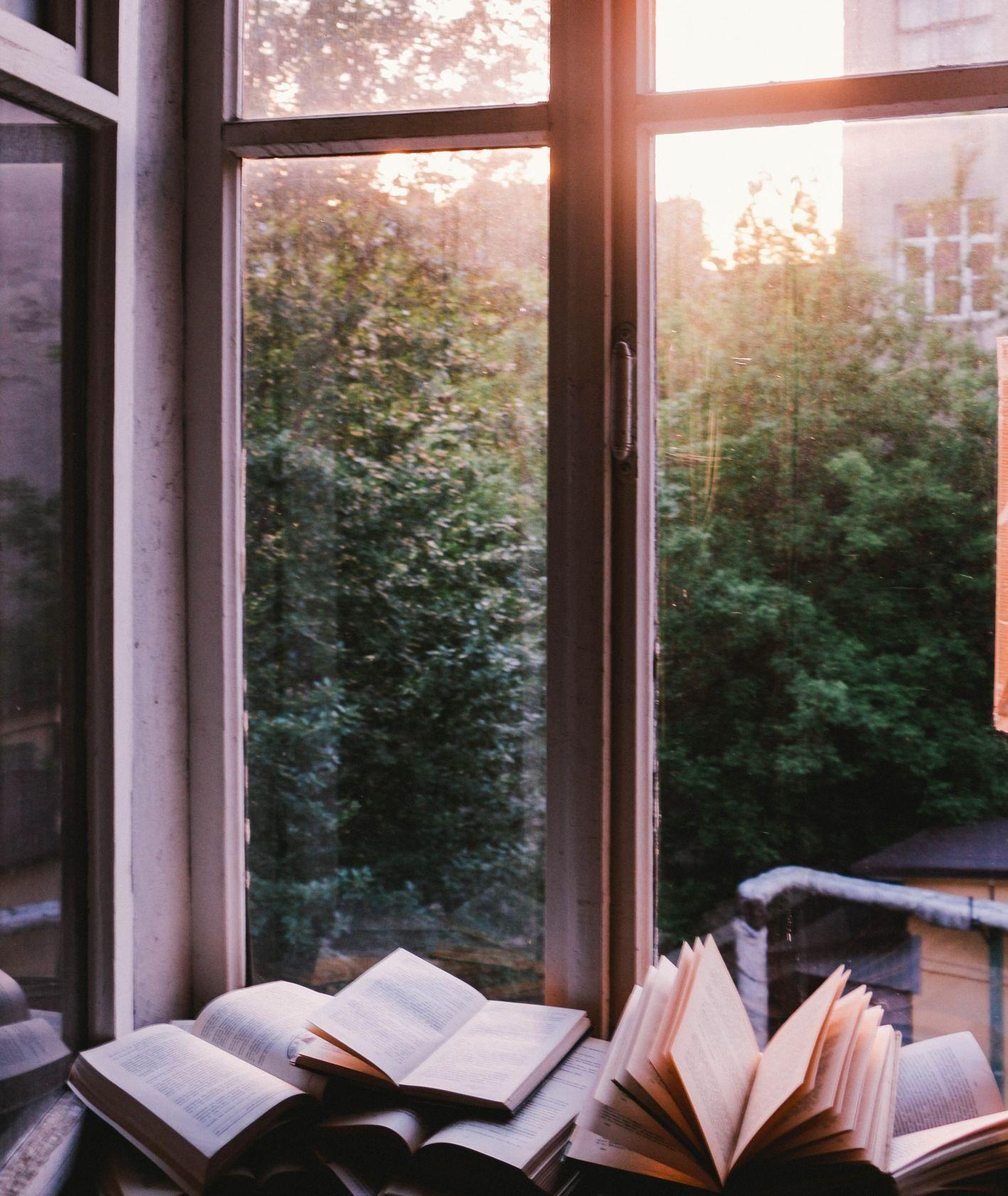 Otwarte książki na oknie (fot. John Mark Smith / unsplash.com)