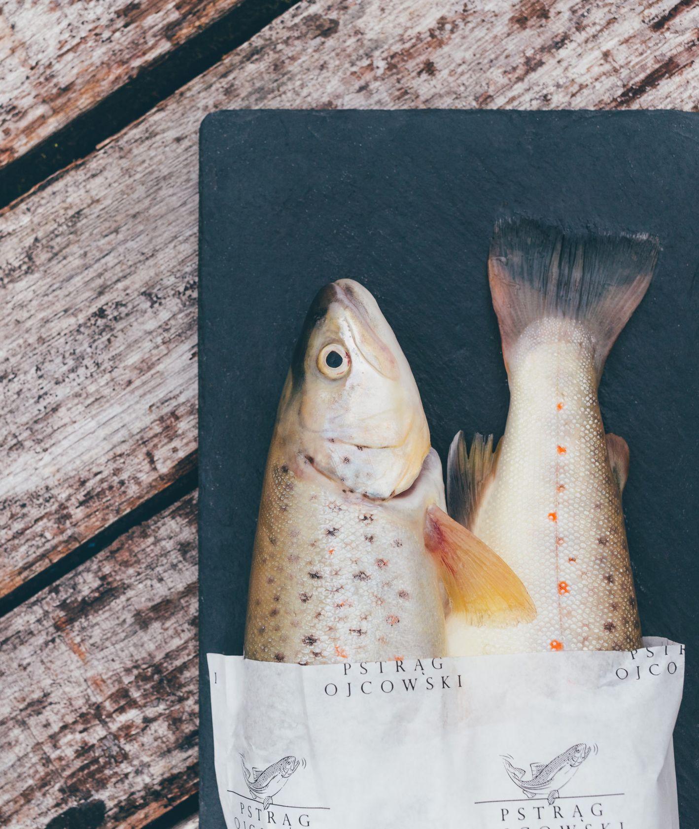 pstrąg ojcowski, dwie surowe ryby na desce