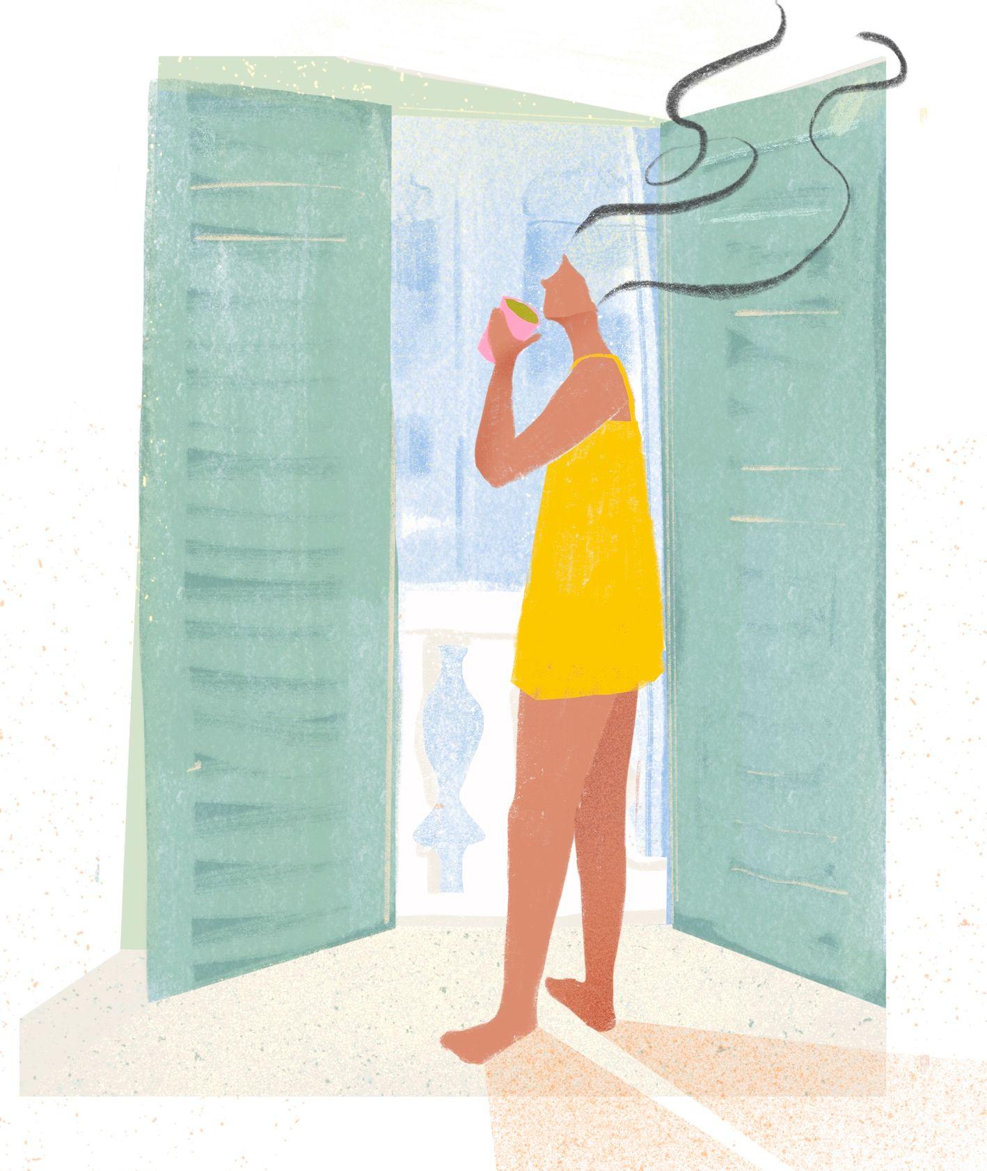 Kobieta w sukience w drzwiach balkonowych (il. Martyna Cybuch)